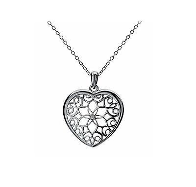 "Hot Diamonds Levanter Small Heart Pendant with 18"" Sterling Silver Chain"