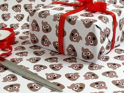 Fun Poop Emoji Wrapping Paper Luxury Gift Wrap Poo Emoticon Crap Wrap!