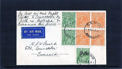 1934 Cairns To Launceston 1st Flight Cover, 30JL34 CDS, Block Of 4, Mint Cond