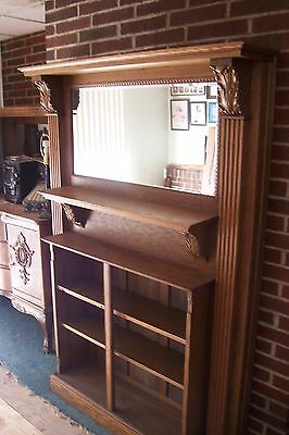 Antique Oak Fire Place Mantel With Gallery And Book Case Combo., L-B517