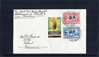 1934 Brisbane To Hobart Via Melbourne 1st Flight Cover, 2 X OS Stamps, Mint Cond
