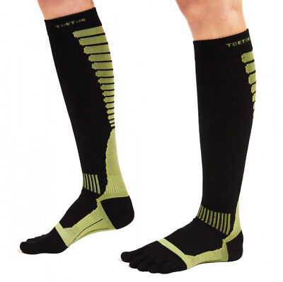ToeToe Five Finger Compression Knee High Running Socks Black Green