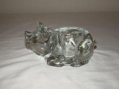 Indiana Glass Clear Crystal Pig Votive Candle Holder