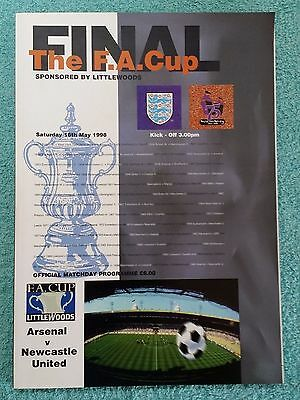 1998 - FA CUP FINAL PROGRAMME - ARSENAL v NEWCASTLE UNITED