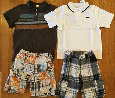 2 Gymboree Crazy 8 Boys Outfits Short Sleeve Polo Shirts Tops & Shorts Size 4