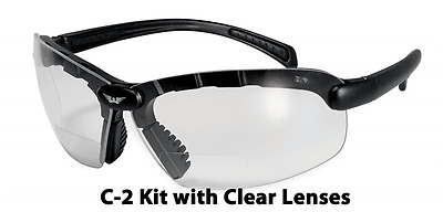 Global Vision Eyewear C-2 Bifocal Plus 1.0 Magnification Safety Glasses, Clear L