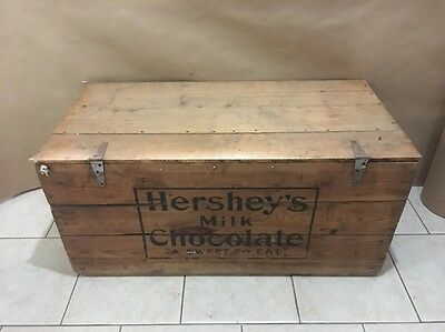 Hershey's Chocolate Wood Box Chest Vintage Milk Chocolate A Sweet To Eat Sign