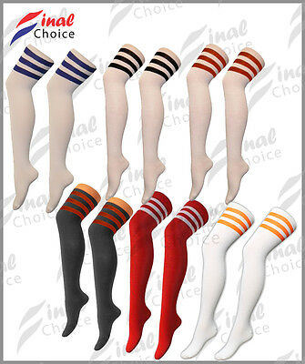 Ladies Womens Girls Thigh High Over The Knee Referee Socks One Size UK 4-6 •