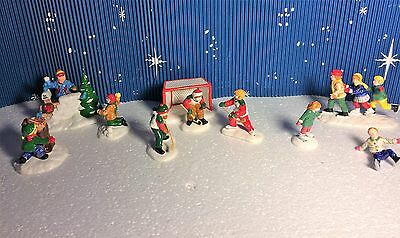 """Dept 56  Snow Village """"Snowball Fort"""", """"Crack The Whip Skaters"""", """"Cold Weather"""""""