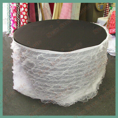 Table Skirt Ruffles Organza For 96 inches Round Table With Velcro White
