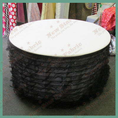 Table Skirt Ruffles Organza For 96 inches Round Table With Velcro Black