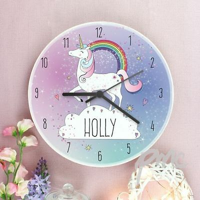 Unicorn Bedroom Wall Clock Wooden Personalised Clock - Add Name - Free delivery
