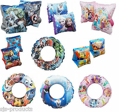 Kids Character Boys Girls Inflatable Swim Aid Ring Armbands Float Swimming Pool