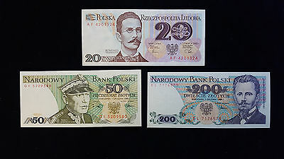 Lot of 3 Poland 20,50,200 Zlotych paper currency Unc