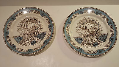 "2 T&r Booth English Transferware ""yosemite"" Plates 8-3/4"" Dia Teal/cream"
