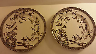 "2 Brown/white Wedgewood & Co. Transferware ""louise"" 9-1/2"" Dia."