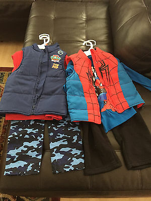 A lot of 6 Paw Patrol/SpiderMan Clothing for Toddler Boy 4T BRAND NEW