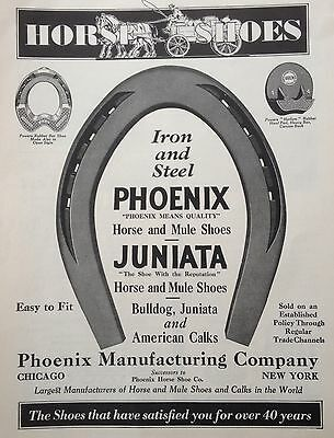 Vintage 1930 Ad(F18)~Phoenix Mfg. Co. Horse And Mule Shoes, Calks