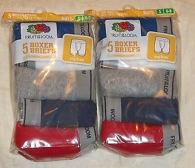 10 pack FRUIT OF THE LOOM BOYS BOXER BRIEFS UNDERWEAR 6-8 SMALL BOXERS