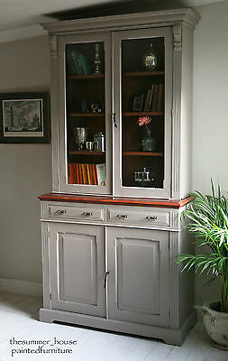Stunning Vintage Painted Glazed Dresser Cabinet Bookcase Farrow & Ball