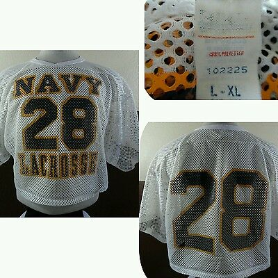 VTG BIKE US Navy LACROSSE JERSEY USN Mesh WhiteNavyGold L-XL 42-48 Game Worn?