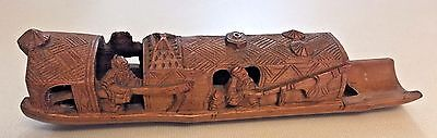 Chinese Bamboo Brush Pot Holder Hand Carved Boat Antique, Vintage Chinese Art
