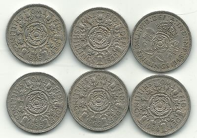 Nice Lot 6 Great Britain 2 Shilling Coins-1948,1955,1956,1964,1965,1966-Apr075
