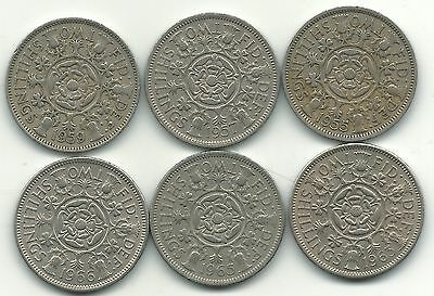 Nice Lot 6 Great Britain 2 Shilling Coins-1955,1957,1959,1963,1965,1966-Apr176