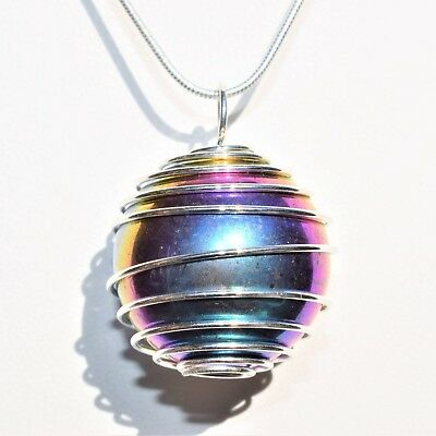 """CHARGED Platinum Silver Rainbow Magnetic Hematite Sphere Pendant + 20"""" Chain"""