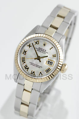 Rolex Ladies Datejust Gold & Steel White MOP Roman Fluted Oyster 6917 2Tone 2YR