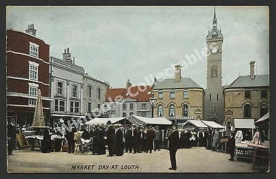 Louth, Market Day, Market Place, c1905. Hartmann, Printed Postcard. (3034)