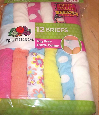 24 pack Girls 100% Cotton Briefs Size 14 Fruit of the Loom Panties Underwear
