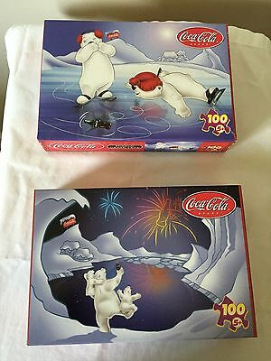 Coca Cola Bears 100 Pc Puzzles THREE CHEERS + SPINNING BOTTLE. Sealed