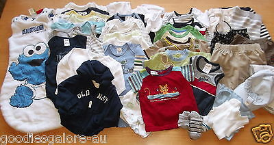 Baby Boy Clothes Size 00  Bodysuits Tees/Tops 40+ pieces BULK Lot BUY NOW