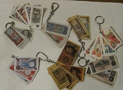 Lot of 8 Key chains: Banknote reproductions - CSA, UK, Iran, DM, Morocco, ...