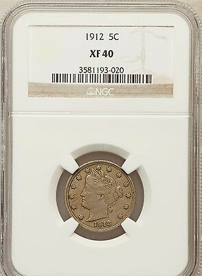 COIN - 1912 LIBERTY HEAD V NICKEL NGC XF 40 XF40                  Free Ship USA