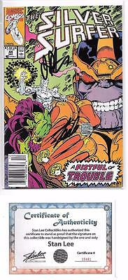 Silver Surfer #44 Signed Stan Lee & Jim Starlin Thanos 1St Infinity Gauntlet Coa