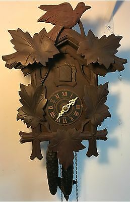 Vintage German Black Forest Wooden Cuckoo Clock Pine Cone Weights Bird