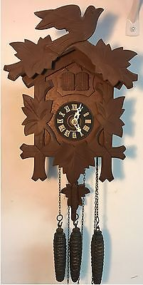 Vintage German Musical Music Man Wooden Cuckoo Clock Bird Pine Cone Weights