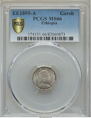 EE 1895 A (1902) Ethiopia Gersh, PCGS MS 66, Superb, None Finer at NGC