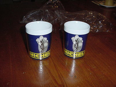 VINTAGE NOS NEW OLD STOCK MICHELIN MAN CUPS MUGS 1970s PLASTIC LOT OF 2