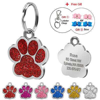Pawprint Custom Dog Tag Disc Glitter Engraved Pet Puppy Cat Kitten Name ID Tag
