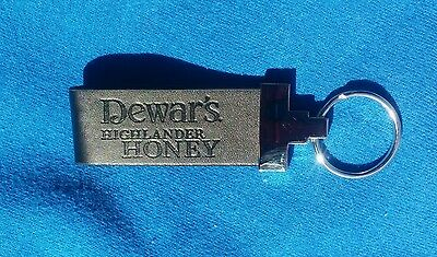 Dewar's Scotch Whiskey Highlander Genuine Leather and Metal Keychain NEW