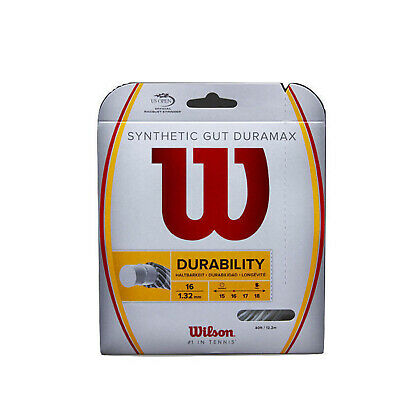 WILSON Synthetic Gut Duramax 16g 1.32mm Tennis Racquet String 12m Durability New