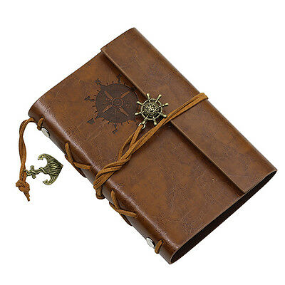 Brown Anchor Faux Leather Cover Notebook Journal Diary Blank String Showy