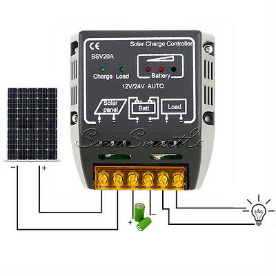 12V/24V 20A Solar Panel Charge Controller Battery Regulator Safe Protection