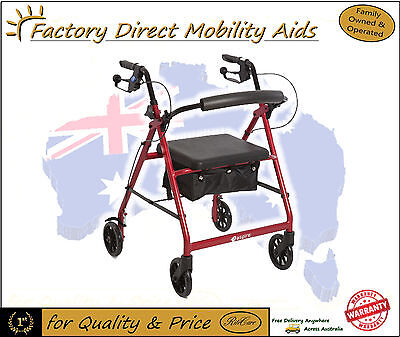 Aspire Classic - 4 Wheel Rollator Walker with 6 inch wheels Only 6kgs in Weight