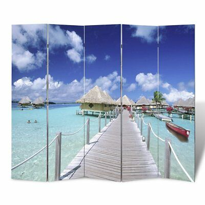 # Large Folding 5 Panels Room Divider Screen Solid Wood Print Beach Privacy 200c