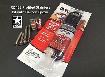 CZ 455 PROFILED Pillar Bedding DELUXE KIT w/ Devcon and STAINLESS Action  Screws