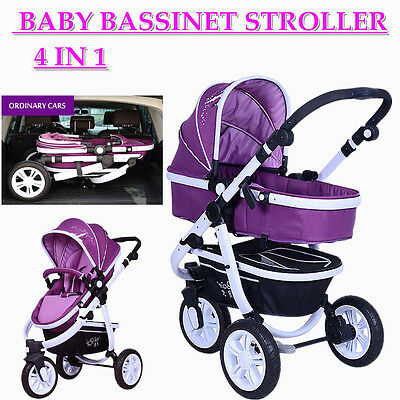 4in1 Baby Stroller Toddler Jogger Pram 3 Wheel With Bassinet Purple Portable AU